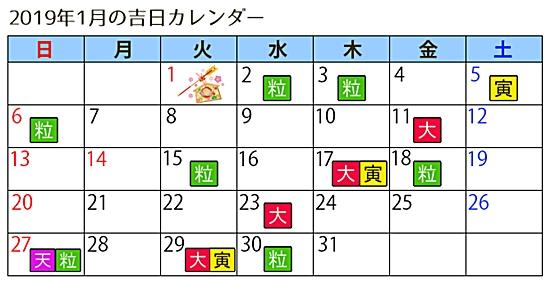 ラッキーショップカレンダー1月