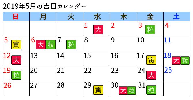 ラッキーショップカレンダー5月