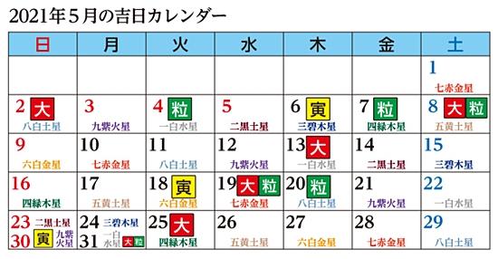 5月の金運アップカレンダー